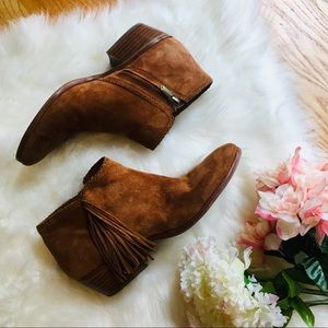 🌹Sam Edelman Paige Brown Fringe Boots Booties 8.5